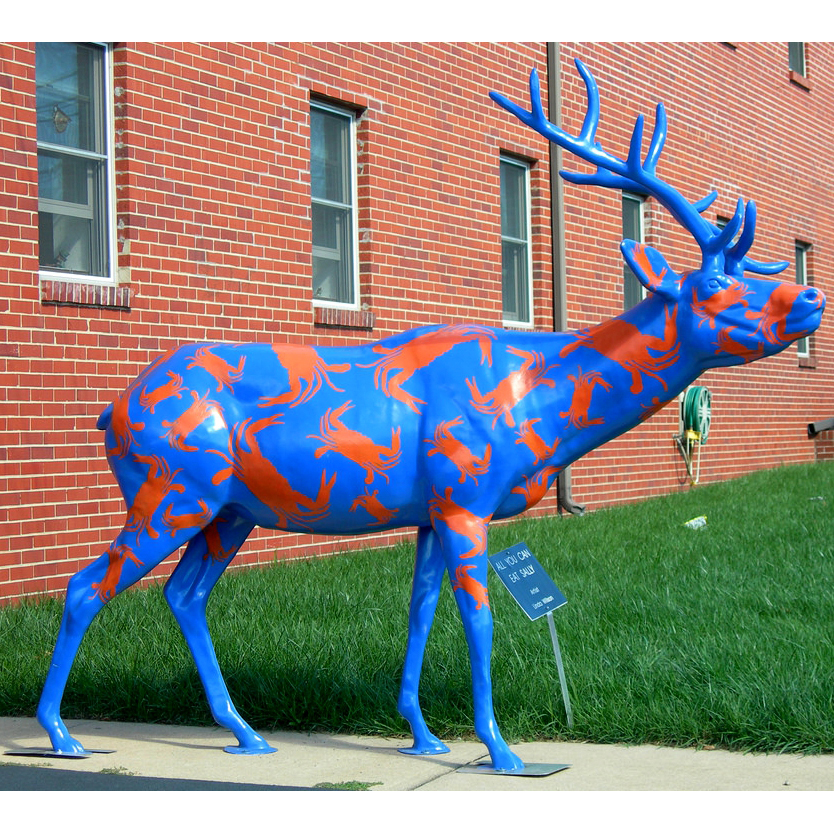 Modern outdoor garden decoration resin deer statue with painting