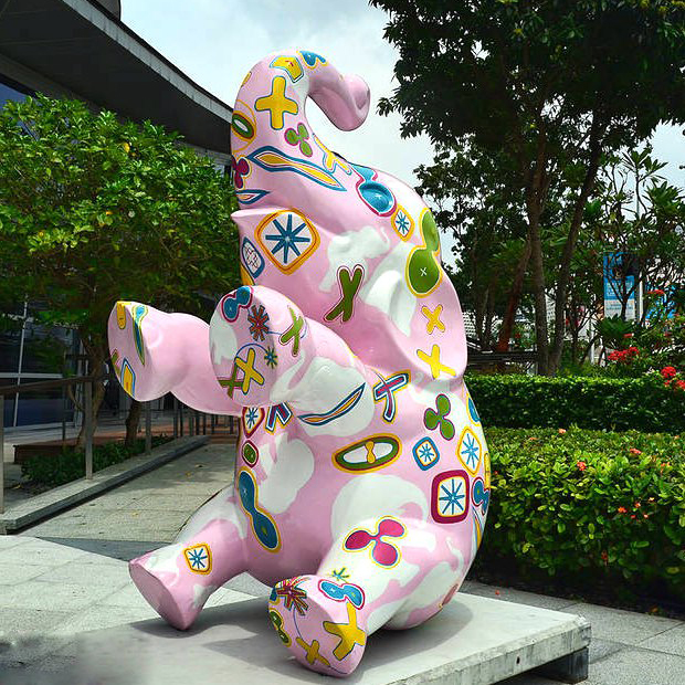 Resin cartoon animal sitting colorful elephant statue