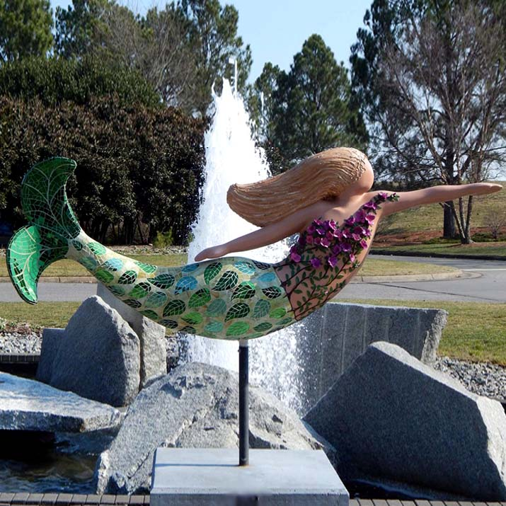 Wholesale abstract enchanting resin mermaid statue for outdoor decoration